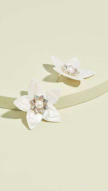 装饰条扣 超大花朵饰物耳环