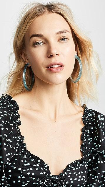 装饰条扣 大号纹理合成树脂圈式耳环