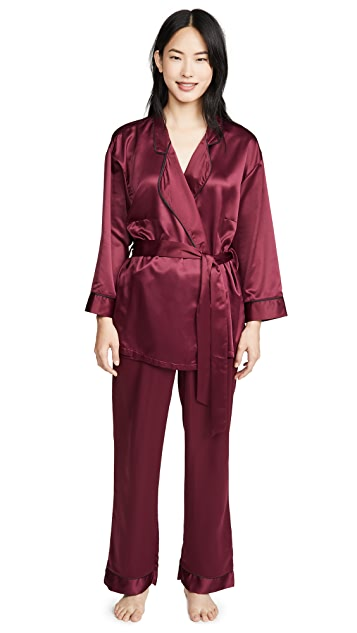 蓝色贝拉 Wren 和服和长裤睡衣套装