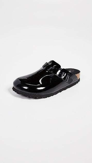 勃肯鞋 波士顿黑色漆皮木底鞋 - 窄版