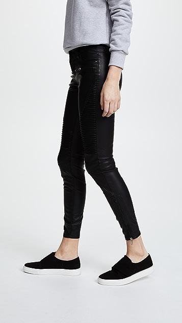 Blank Denim 黑色仿皮机车裤