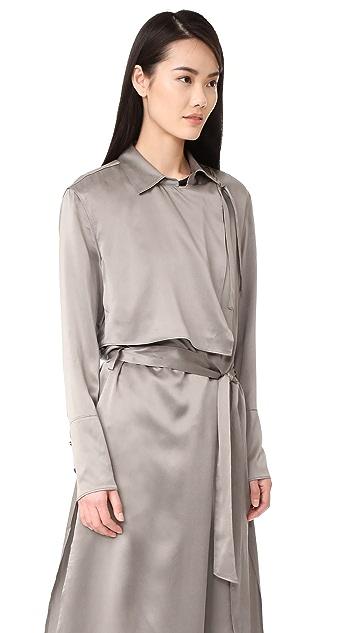 BLK DNM Coat 50 缎面双排扣风衣