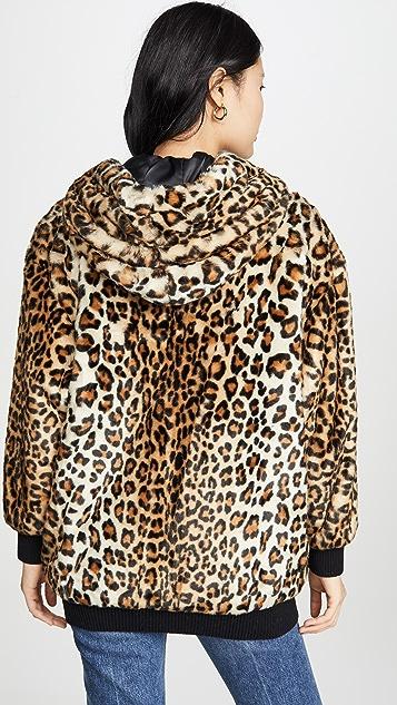 Boutique Moschino 豹纹印花连帽夹克