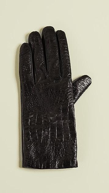 Carolina Amato 鳄鱼纹皮手套