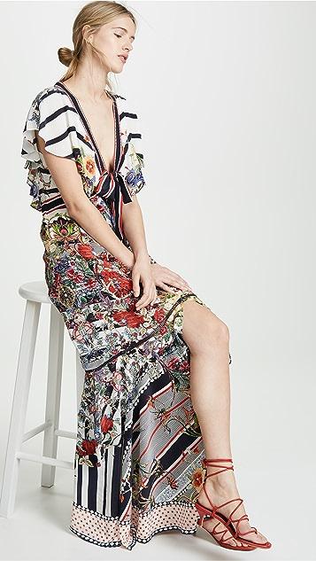 Camilla 前绑带长连衣裙