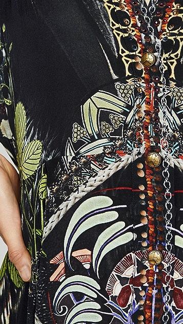 Camilla 方形袖纽扣连衣裙
