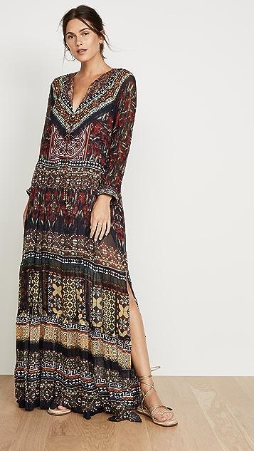 Camilla 褶皱拼接长连衣裙