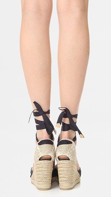 Castaner Carina 坡跟编织底凉鞋