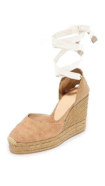 Castaner 水洗帆布坡跟编织底鞋
