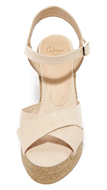 Castaner 水洗帆布交叉编织底坡跟凉鞋