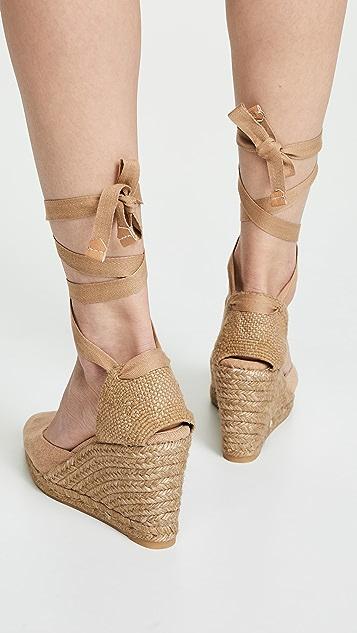 Castaner Joyce T 编织底坡跟绑带凉鞋