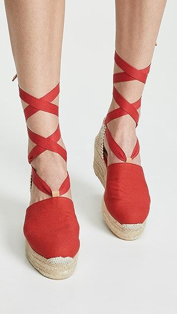 Castaner Campesina 坡跟编织底凉鞋