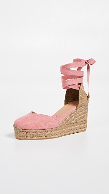 Castaner Chiara T 编织底坡跟绑带凉鞋