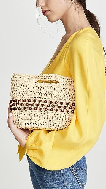 Caterina Bertini 木质珠饰梭织手拿包