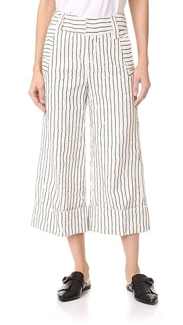 Derek Lam 10 Crosby 宽裤脚 Mojave 条纹裙裤