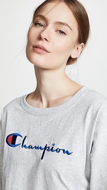 Champion Premium Reverse Weave 七分袖短款 T 恤