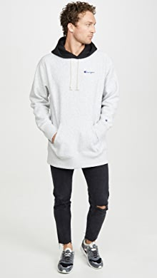 챔피온 Champion Colorblock Hooded Sweatshirt,Oxford Grey