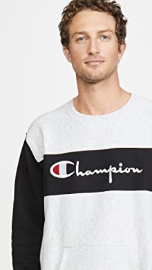 챔피온 Champion Colorblock Crew Neck Sweatshirt,Oxford Grey