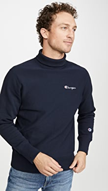 챔피온 Champion Small Script High Neck Sweatshirt,Navy