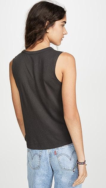 Chaser 薄纱棉质不对称短款健美背心