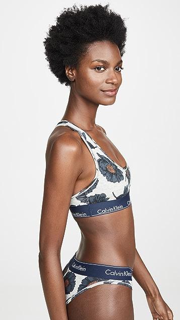 Calvin Klein 钢托文胸 时尚棉质无衬里休闲文胸