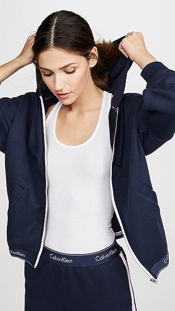 Calvin Klein 钢托文胸 时尚棉质居家全拉链连帽上衣