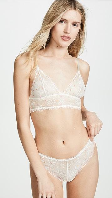 Calvin Klein 钢托文胸 绒球蕾丝丁字裤