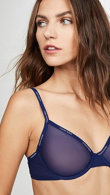 Calvin Klein Underwear 薄罗纱无衬里半罩杯文胸