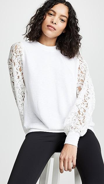 Clu 混合材质蕾丝袖运动衫