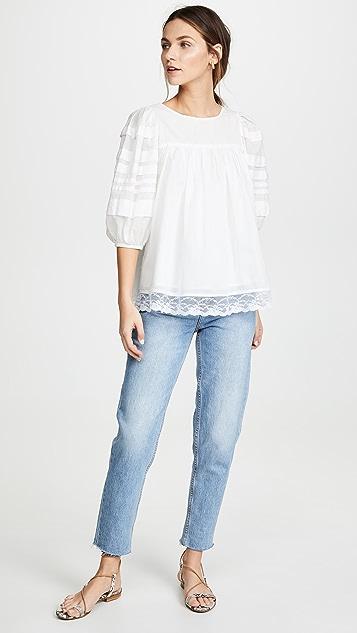 Clu 泡泡袖蕾丝撞色女衫