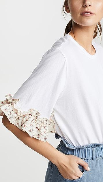 Clu 花卉荷叶边 T 恤