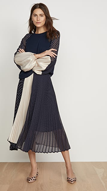 Clu 波点和镀金半身裙