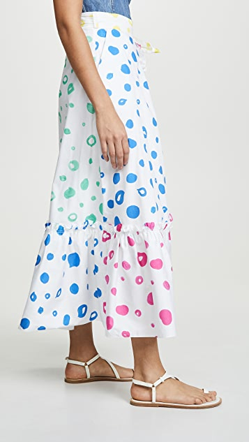 Mira Mikati 撞色波点半身裙