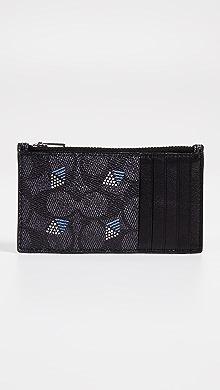 코치 COACH New York Zip Card Case in Dot Diamond Signature,Charcoal