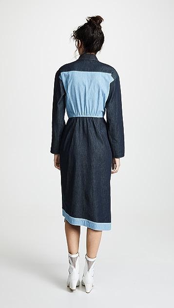 Colovos 绑带双色衬衣式连衣裙