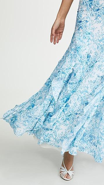 Costarellos 印花荷叶边连衣裙