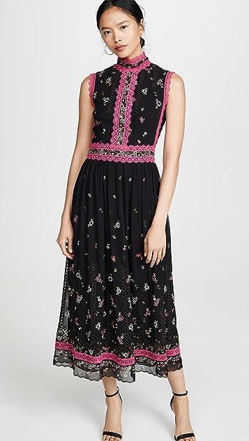 Costarellos 刺绣连衣裙