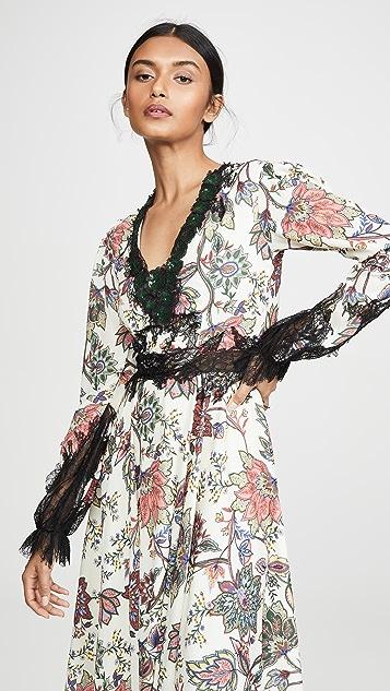 Costarellos V 领灯笼袖连衣裙