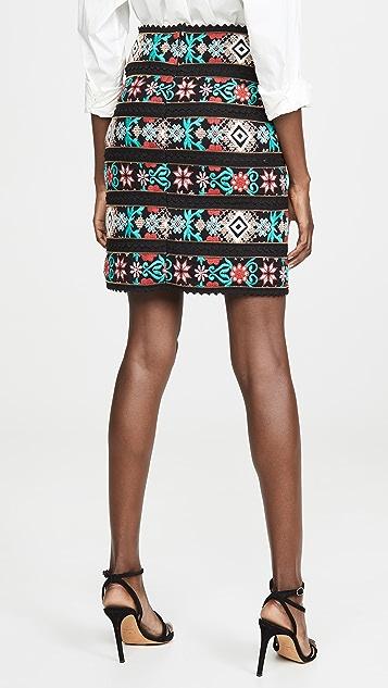 Costarellos 十字缝线刺绣半身裙