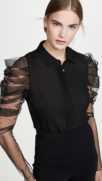Cushnie 褶皱袖系扣女式衬衫