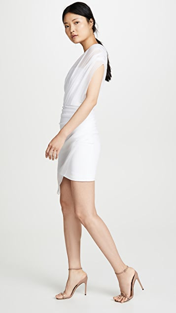 Cushnie 垂褶雪纺覆面无肩带迷你连衣裙
