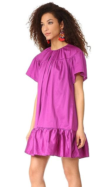 Cynthia Rowley 精致棉质荷叶边连衣裙