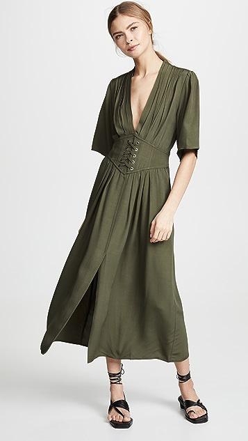 Divine Heritage 系带腰身中长连衣裙