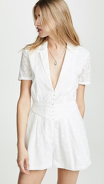 Divine Heritage 有领系扣裥褶短款连身衣