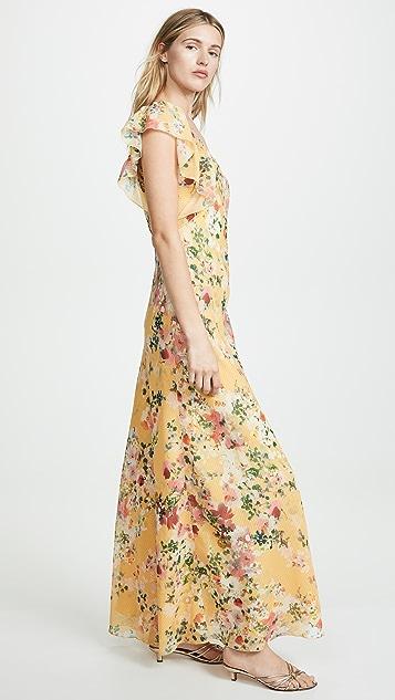 Divine Heritage 细褶荷叶边长连衣裙