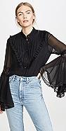 Divine Heritage 蕾丝细节喇叭袖女式衬衫