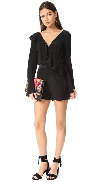 Diane von Furstenberg 不对称荷叶边短款连身衣
