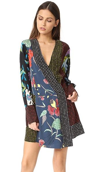 Diane von Furstenberg 长袖交叠连衣裙