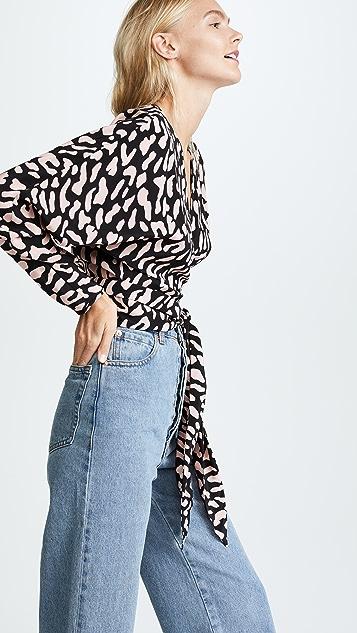Diane von Furstenberg DVF 黛安 冯芙丝汀宝 V 领裹身式女式衬衫