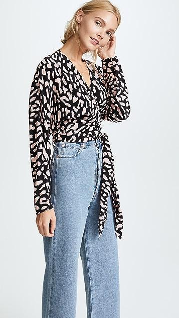 Diane von Furstenberg V 领裹身式女式衬衫
